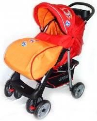 Коляска детская прогулочная Sigma (Сигма) 038 - серо-оранжевая